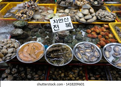 Variety of seafood (abalone, sea cucumber, sea worm, sea squirts, clams) sold in wet market in Korea. Translated Korean text: Fresh abalone