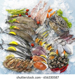 Variety of seafood on ice