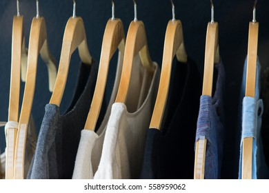 Variety of shirts hanging on the clothesline