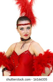Variety show dancer in red at white background