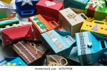 the variety of small gift boxes for Christmas presents