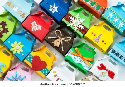 the variety of small gift boxes for Christmas and New Year