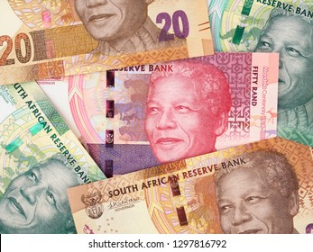 Variety of South Africa rand bills. South African money background. South Africa stock market.