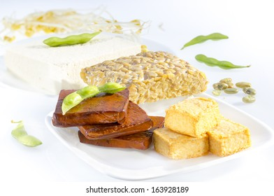 Variety of soy products including tofu, tempeh and sprouts.