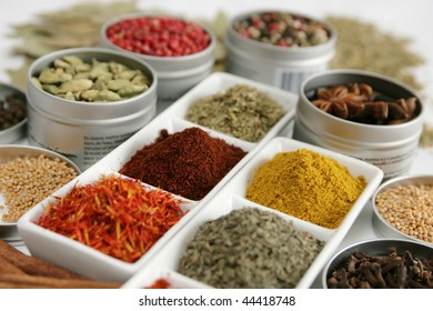 Variety of spices in different container