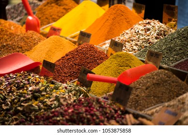 Variety of spices, herbas and food at the Spices Bazaar at Istanbul, Turkey