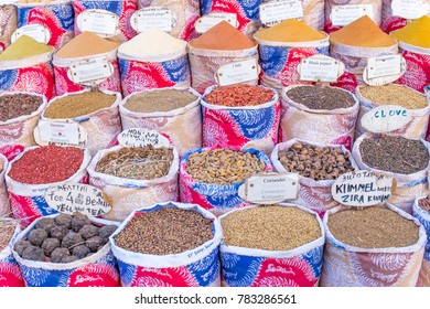 Variety of spices and herbs on the market in Egypt