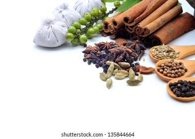 Variety of Spices and herbs,Food and cuisine ingredients on white