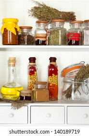 Variety spices on kitchen shelves