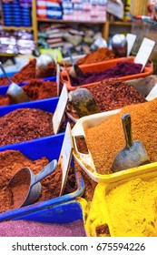 Variety of spices on a market of old Akko, Israel