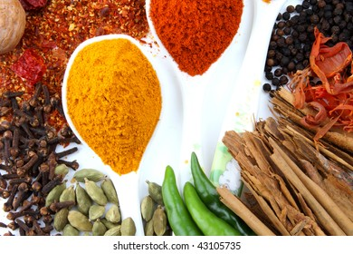 variety of spices on white background with spoons of turmeric and red chillies powder