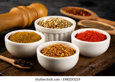 Variety of spices and seasonings on the table.