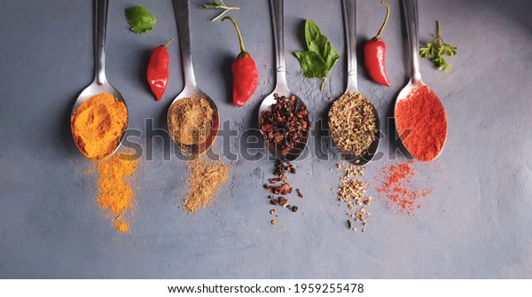 variety of spices such as saffron, paprika, black pepper, red pepper, oregano parsley and rosemary in spoon and gray background with space for text