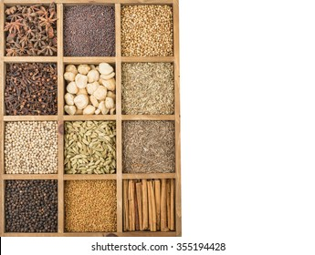 Variety of spices in wooden box
