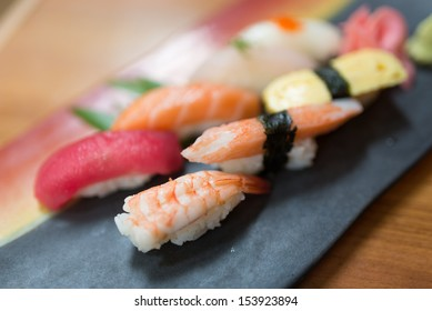 Variety of sushi nigiri set