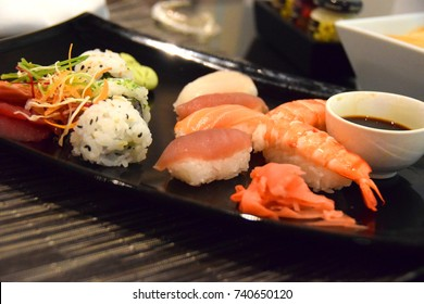 Variety sushi, tuna raw sushi, prawn sushi, salmon and soya sauce