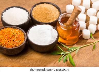 Variety of sweeteners - Sugar, stevia leaves, pollen and honey.