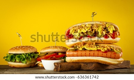 Variety Tasty Classic Traditional American Food Stock Photo Edit