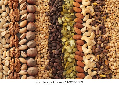 Variety of tasty fresh nuts, closeup