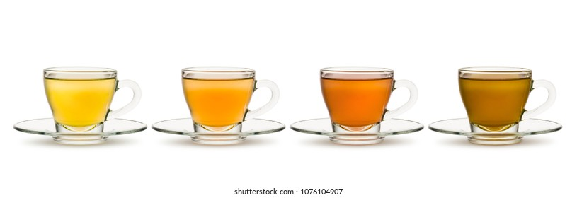 variety of tea and herbal teas in glass cups on white background