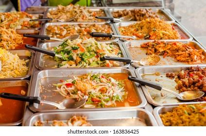 variety of thai food in Thai style fast-food on roadside