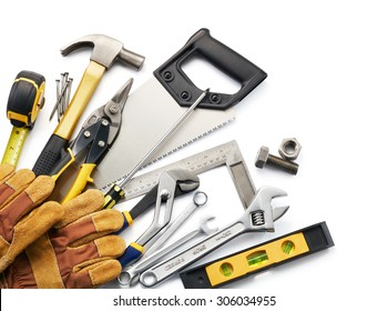 variety of tools against white background with copy space