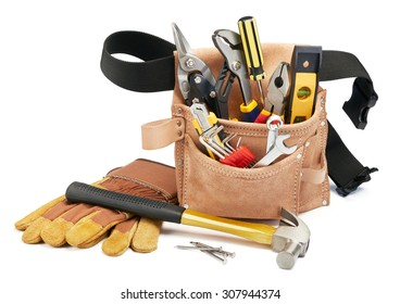 variety of tools with tool belt on white background