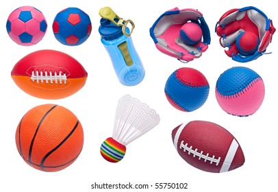 Variety of Toy Sports Objects Isolated on White.  Including Soccer Balls, Footballs, Baseballs, Baseball Glove, Shuttlecock, Basketball and Water Bottle.