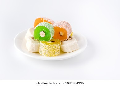 Variety of Turkish Delight Lokum Sweet Turkish delight lokum Traditional dessert White background Copy space