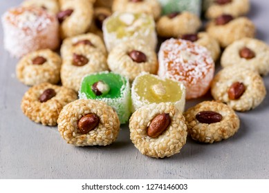 Variety of Turkish Delight Lokum Sweet Turkish Delight Lokum Traditional Dessert White Background