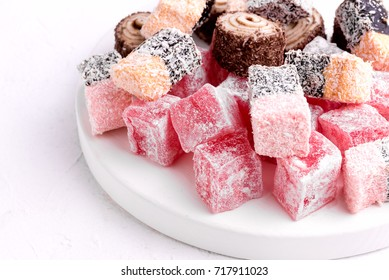 Variety of Turkish Delight Lokum Sweet Turkish delight lokum Traditional dessert White background Above
