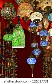 Variety of turkish lamps on sale on the market