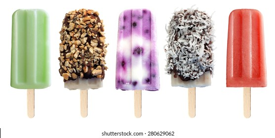 Variety of unique popsicle desserts isolated on a white background