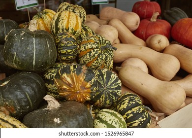 Variety of winter squash on a wooden table at a Farmers Market during the Autumn Harvest season in Woodstock, Vermont. Cucurbita maxima