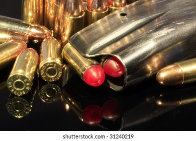 9 Mm Hollowpoint Bullets Magazine Isolated On Stock Photo
