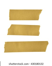 various adhesive tape pieces on white background