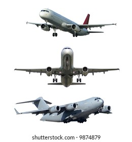 Various air liners isolated on a white background. Hand made high-quality cutting in high resolution