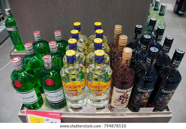 Various Alcohol Brands Airport Duty Free Stock Photo (Edit