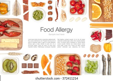 various allergy food on white background top view. multicolored frame composition with copy space