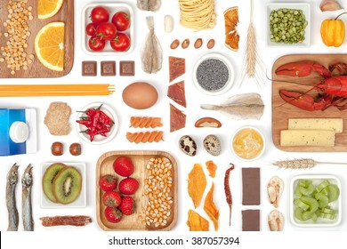 various allergy food on white background top view