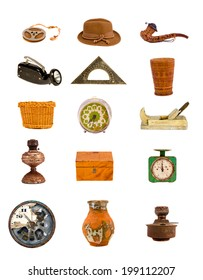 various antique tools and objects assorted collection isolated on white