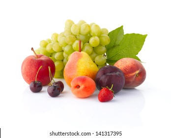 Various, assorted fruits (grape, apple, pear, cherry, apricot, plum, peach,  strawberries) with leaf, isolated on the white background with soft shadow