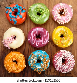 various baked donuts, sweet food