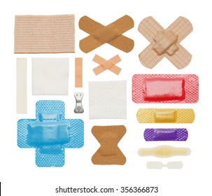 Various Bandages, Tape and Gauze Isolated on a White Background.
