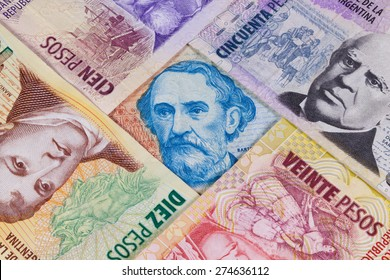 Various banknotes from Argentina on the table