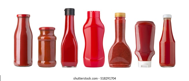 various barbecue sauces in glass bottles on white background