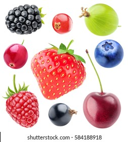 Various berries collection. Strawberry, blackberry, cranberry, raspberry, black currant, cherry, blueberry, gooseberry and red currant isolated on white background with clipping path