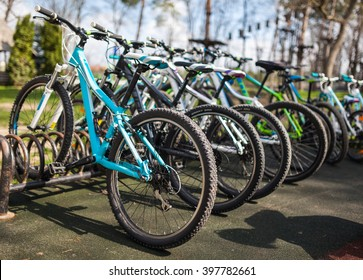 Various bicycles on a rack, available for rent