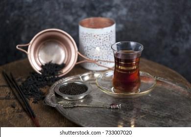 Various of Black Tea: Turkish Tea, Assam Indian Tea, Chinese Black Tea