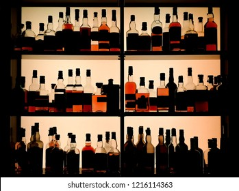 Various bottles of alcohol displayed in a pub.